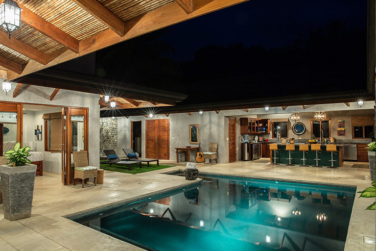 The entire house is built around a large pool